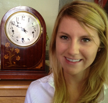 Lucy Winterhalder with the Winterhalder and Hofmeier clock